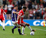 Enda Stevens of Sheffield Utd  and Cyrus Christie of Middlesbrough during the Championship match at the Riverside Stadium, Middlesbrough. Picture date: August 12th 2017. Picture credit should read: Simon Bellis/Sportimage