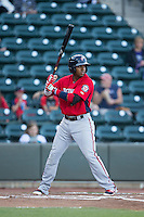 Osvaldo Abreu (10) of the Potomac Nationals at bat against the Winston-Salem Dash at BB&T Ballpark on May 13, 2016 in Winston-Salem, North Carolina.  The Dash defeated the Nationals 5-4 in 11 innings.  (Brian Westerholt/Four Seam Images)