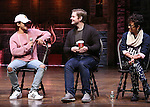 Jordan Fisher, Rory O'Malley and Syndee Winters from 'Hamilton' greet High School students from The Rockefeller Foundation, and The Gilder Lehrman Institute of American History before a 'Hamilton' matinee performance at the Richard Rodgers Theatre on 11/30/2016 in New York City.