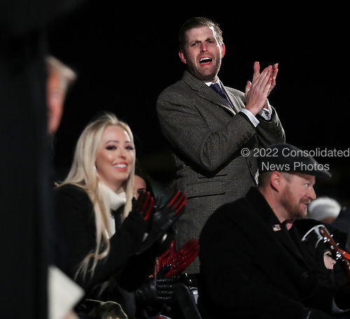Eric Trump and Tiffany Trump welcome their father, President Donald Trump and first lady Melania Trump to the 2018 National Christmas Tree Lighting Ceremony at the Ellipse near the White House on November 28, 2018 in Washington, DC.<br /> Credit: Oliver Contreras / Pool via CNP