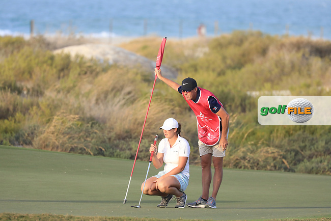 Marianne Skarpnord (NOR) &amp; Richard Green (AUS) during the first round of the Fatima Bint Mubarak Ladies Open played at Saadiyat Beach Golf Club, Abu Dhabi, UAE. 10/01/2019<br /> Picture: Golffile | Phil Inglis<br /> <br /> All photo usage must carry mandatory copyright credit (&copy; Golffile | Phil Inglis)