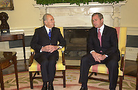 United States President George W. Bush meets Foreign Minister Shimon Peres of Israel in the Oval Office of the White House. on May 3, 2001<br /> Credit: Ron Sachs / CNP /MediaPunch