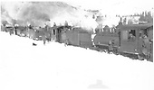 Five D&amp;RG locomotives, including #410, in snow below Windy Point.<br /> D&amp;RG  near Cumbres, CO  Taken by Lively, Charles R.