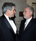 Washington, DC - April 26, 2003 -- Assistant Secretary of Defense Paul Wolfowitz and CNN Correspondent Wolf Blitzer at the 2003 White House Correspondents Dinner, Washington, DC, April 26, 2003.<br /> Credit: Ron Sachs/CNP