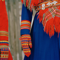 Gakti, traditional Sami dress in Lapland, Sweden