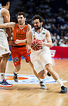 Real Madrid's player Sergio Llull and Valencia Basket's Guillem Vives during the first match of the Semi Finals of Liga Endesa Playoff at Barclaycard Center in Madrid. June 02. 2016. (ALTERPHOTOS/Borja B.Hojas)