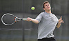 Daniel Shleimovich of Syosset returns a volley during the Nassau County varsity boys' tennis doubles championship match against Sean Mullins and Patrick Hannity of Cold Spring Harbor at Oceanside High School on Satuday, May 16, 2015.<br /> <br /> James Escher