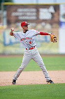 Greeneville Reds third baseman Claudio Finol (4) throws to first base during the first game of a doubleheader against the Princeton Rays on July 25, 2018 at Hunnicutt Field in Princeton, West Virginia.  Princeton defeated Greeneville 6-4.  (Mike Janes/Four Seam Images)