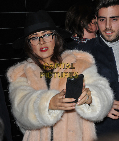 Salma Hayek attends the Stella McCartney 2015 Christmas Lights switch on party, Stella McCartney boutique, Bruton Street, London, England, UK, on Wednesday 25 November 2015.<br /> CAP/CAN<br /> &copy;CAN/Capital Pictures