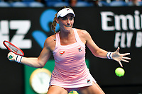 January 16, 2019: Timea Babos of Hungary in action in the second round match against 5th seed Sloane Stephens from the USA on day three of the 2019 Australian Open Grand Slam tennis tournament in Melbourne, Australia. Photo Sydney Low