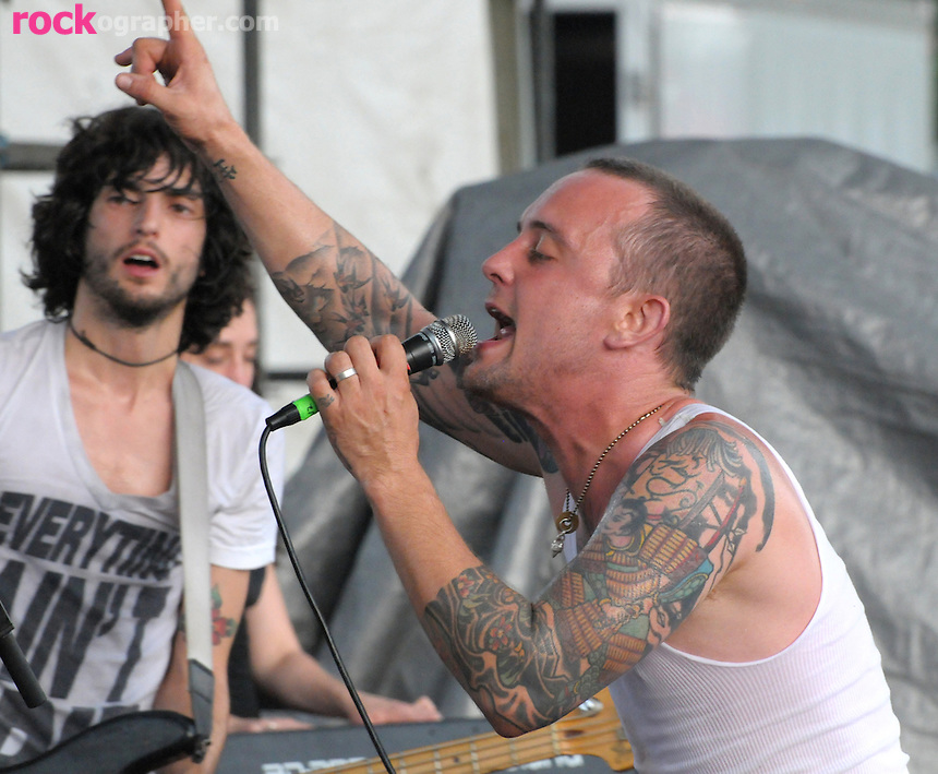 Singer Dave Hause and Bassist Chris Gonzlez from Philli Punk Band The Loved Ones perform at the summers first Pool Parties Concert at McCarren Park Brooklyn NYC