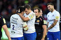 Anthony Perenise and Zach Mercer of Bath Rugby after the match. Aviva Premiership match, between Exeter Chiefs and Bath Rugby on December 2, 2017 at Sandy Park in Exeter, England. Photo by: Patrick Khachfe / Onside Images