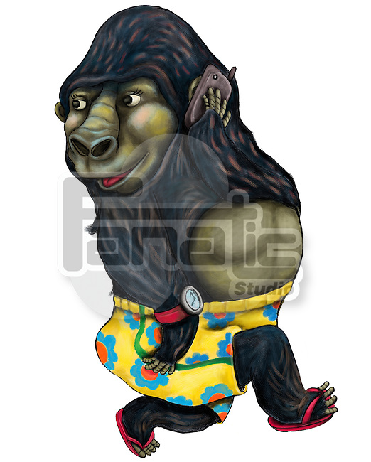 Illustration of gorilla on call over white background