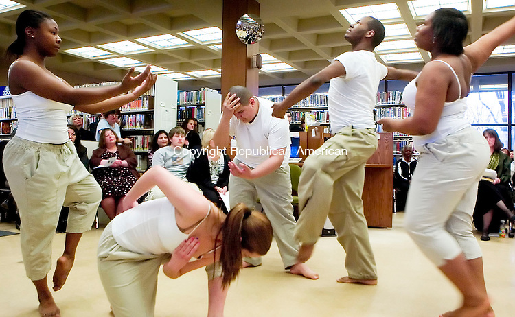 WATERBURY, CT- 29 MARCH 07- 032907JT02- <br /> Members of Life Dance Company perform during a kick-off celebration of The Big Read which featured dancers, actors, and local luminaries reading aloud and interpreting Harper Lee's &quot;To Kill a Mockingbird&quot; at the Silas Bronson Library in Waterbury on Thursday.<br /> Josalee Thrift Republican-American