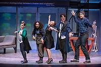 """From left: Rosie Stevenson '22 as DOMINATOR; Noa Carlson '22 as MO(NIQUE); Nina Srdić Hadži-Nešić '21 as DR. HALLIE; Carey Cannata '21 as DR. GALL; Mitch Carswell '20 as BIG AL<br /> Photo from the dress rehearsal of the Occidental College Department of Theater presentation of U-R-U by Julia Lederer, directed by Edgerton Guest Artist Jessica Kubzansky, Nov. 28, 2018 in Keck Theater.<br /> First daughter Helen Spectacular travels to Robo Island (Silicon Valley meets the Bermuda Triangle) on a secret mission to free thousands of robots from servitude. Absurdly comic and existentially chilling, U-R-U examines the societal obsession with progress at all costs and the decreasing worth of humanity in this increasingly artificial world.<br /> U-R-U is based on a 1920 science fiction play by the Czech writer Karel Čapek called R.U.R., which was the first time the word """"robot"""" was used.<br /> (Photo by Marc Campos, Occidental College Photographer)"""