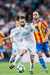 Daniel Carvajal Ramos (l) of Real Madrid is followed by Simone Zaza of Valencia CF during their La Liga 2017-18 match between Real Madrid and Valencia CF at the Estadio Santiago Bernabeu on 27 August 2017 in Madrid, Spain. Photo by Diego Gonzalez / Power Sport Images