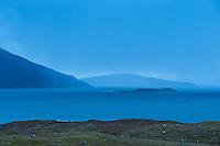 Evening rain showers over coast, Isle of Harris, Outer Hebrides, Scotland