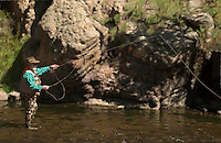 Photo illustration of a man fly fishing along the South Platte River in Eleven Mile Canyon in Colorado