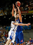 Asefa Estudiantes' German Gabriel (f) and Real Madrid's Sergio LLull during ACB match.September 30,2010. (ALTERPHOTOS/Acero)