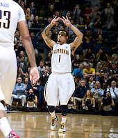 Justin Cobbs of California celebrates after scoring three points during the game against Oregon State Beavers at Haas Pavilion in Berkeley, California on January 31st, 2013.  California defeated Oregon State, 71-68.