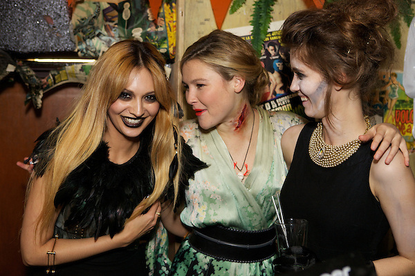 Zara Martin, Jade Williams (Sunday Girl) and Amber Atherton at The MyFlashTrash Halloween Party at Barrio, Soho, London