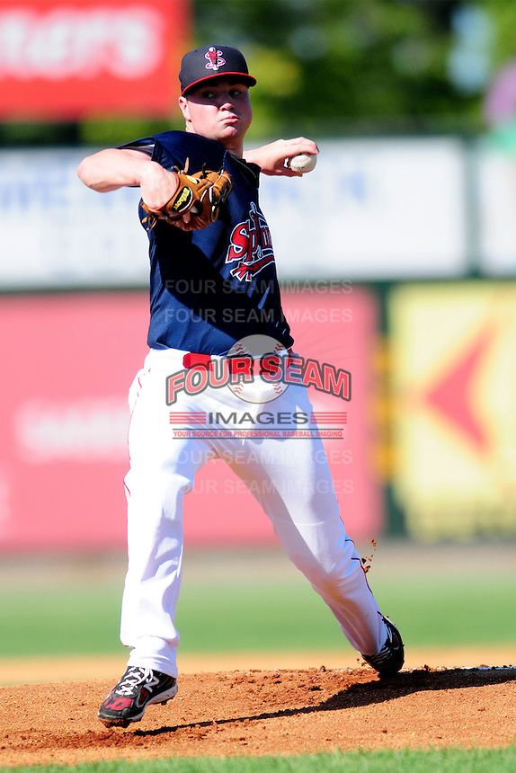 Lowell Spinners starting pitcher Logan Allen(17) during a game versus the Vermont Lake Monsters at LeLacheur Park on September 6, 2015 in Lowell, Massachusetts. (Ken Babbitt/Four Seam Images)