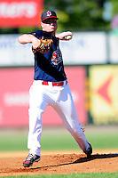 Lowell Spinners starting pitcher Logan Allen(17) during a game versus the Vermont Lake Monsters at LeLacheur Park on September 6, 2015 in Lowell, Massachusetts. (Ken Babbitt/Four Seam Images)