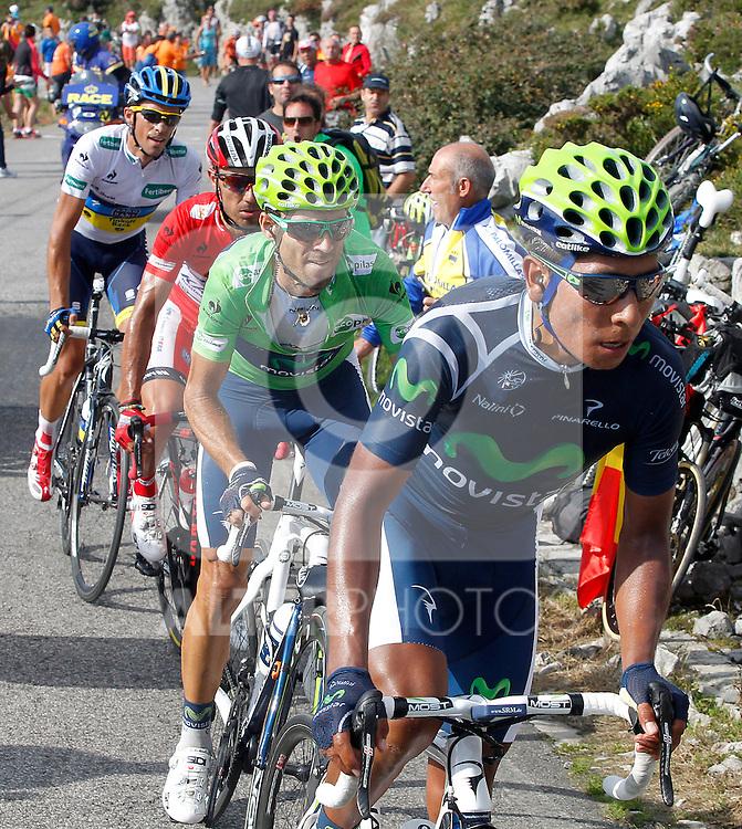 Alberto Contador (w), Alejandro Valverde (g), Joaquin Purito Rodriguez (r) and Nairo Alexander Quintana during the stage of La Vuelta 2012 between La Robla and Lagos de Covadonga.September 2,2012. (ALTERPHOTOS/Paola Otero)