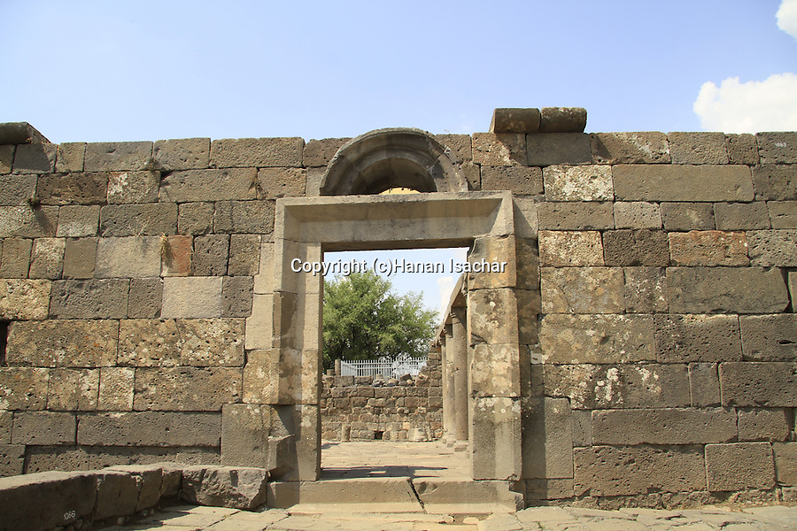 Golan Heights, the entrance to Umm el Kanatir ancient Synagogue