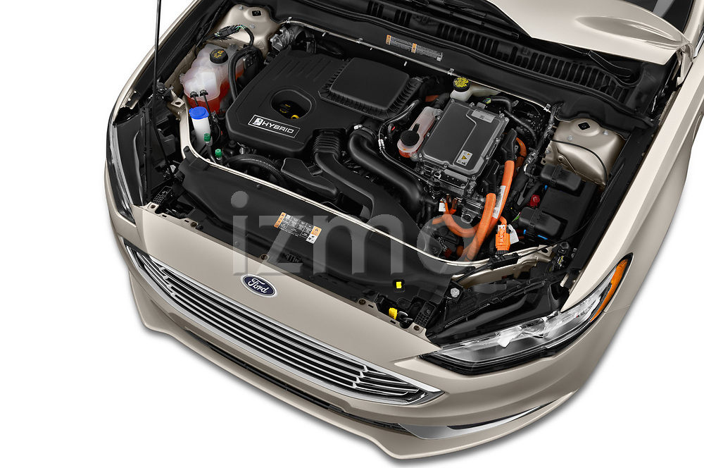Car stock 2018 Ford Fusion Hybrid SE 4 Door Sedan engine high angle detail view