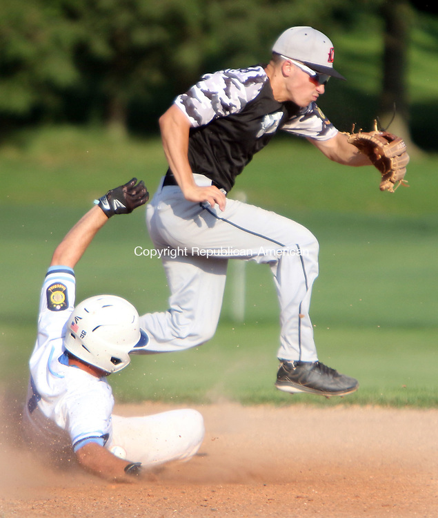 WATERTOWN CT. 18 July 2017-071817SV07-#3 Cam Defeo of Oakville Post 195 gets out of the way, after the throw went wide, as #7 Mike Grafstein of Stamford Post 3 slides into 2nd safe during Legion baseball action in Watertown Tuesday.<br /> Steven Valenti Republican-American