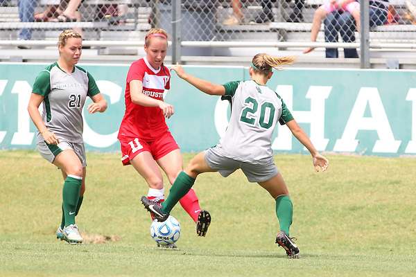 Denton, TX - AUGUST 31: Katelyn Ross #20 of the North Texas Mean Green soccer and Lynda Hercules #21  in action against University of Houston Cougars at the Mean Green Village Soccer Field on August 31, 2012 in Denton, Texas. NT won 2-1.(Photo by Rick Yeatts)