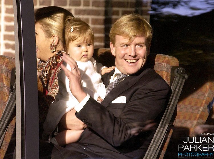Crown Prince Willem Alexandra, Crown Princess Maxima and daughter Amelia attend the Christening of Prince Constantijn & Princess Laurentien of Holland's son Claus-Casimir, at the Palais Het Loo in Apeldoorn.