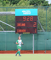 23 June 2013; Scorboard shows the final score in the Electric Ireland Senior Women's International Friendly, Ireland v Canada, Belfield, Dublin. Picture credit: Tommy Grealy/Actionshots.ie