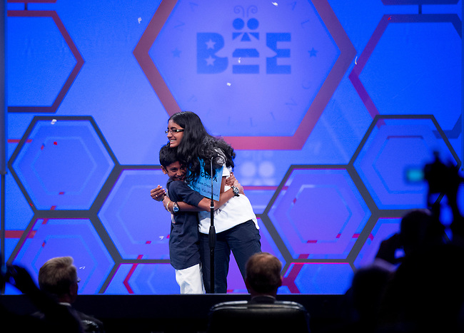 Speller 19, Snigdha Nandipati, is hugged by her brother Sujan after winning the National Spelling Bee at the Gaylord National Resort and Convention Center in Oxon Hill, Md., on Thursday, May 31, 2012. Photo by Bill Clark