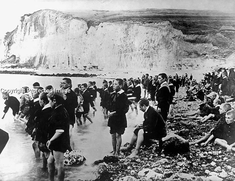 An American Red Cross outing center on the coast near Dieppe, Belgium, where Belgian school children are able to spend the few happy moments they know.  Ca.  1917-18.  IFS. (War Dept.) <br /> Exact Date Shot Unknown<br /> NARA FILE #:  165-WW-179C-11<br /> WAR &amp; CONFLICT BOOK #:  679