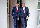 United States House Minority Leader Kevin McCarthy (Republican of California), right and US Representative Michael McCaul (Republican of Texas), left, depart the White House following a meeting with US President Donald J. Trump on Wednesday, October 16, 2019.<br /> Credit: Ron Sachs / CNP