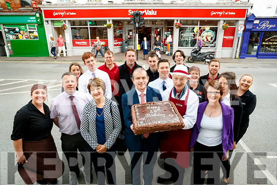 Garveys Supervalu, Rock Street, management and staff, who are celebrating 25 years in business, in front are staff who were there since the opening, Marian O'Connor, Kevin McCarthy, Gerry Hanafin and Eileen Burke. Back l-r: Megan Galvin, Tim Moynihan, Mary Ellen O'Donovan, Joseph Hayes, Piotr Morawiesz, John O'Donnell Billy Cronin, Chris O'Driscoll (manager), Dave O'Donoghue, Mary Ellen Barry, Jonathan O'Sullivan, Helen Griffin and Ciara Lynch.
