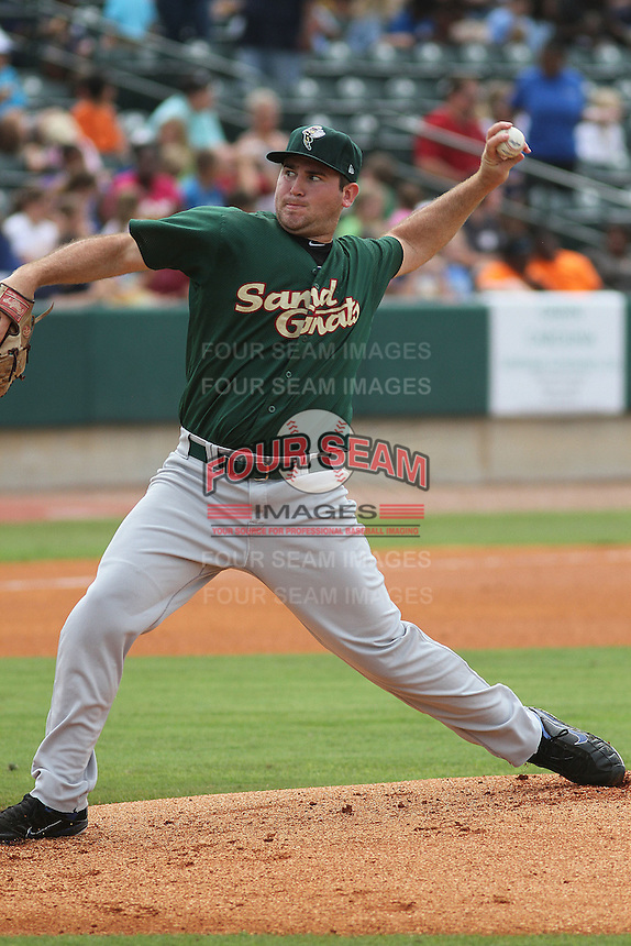 Savannah Sand Gnats starting pitcher Alex Panteliodis #24 on the mound during a game against the Charleston Riverdogs at Joseph P. Riley Jr. Park on May 16, 2012 in Charleston, South Carolina. Charleston defeated Savannah by the score of 14-5. (Robert Gurganus/Four Seam Images)