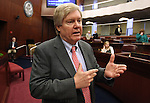 Nevada Assemblyman Tick Segerblom, D-Las Vegas, talks on the Assembly floor at the Legislature in Carson City, Nev., on Thursday, March 17, 2011. .Photo by Cathleen Allison