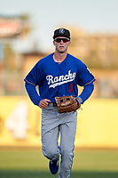 Rancho Cucamonga Quakes left fielder Logan Landon (6) jogs off the field between innings of a California League game against the Stockton Ports at Banner Island Ballpark on May 16, 2018 in Stockton, California. Rancho Cucamonga defeated Stockton 6-3. (Zachary Lucy/Four Seam Images)