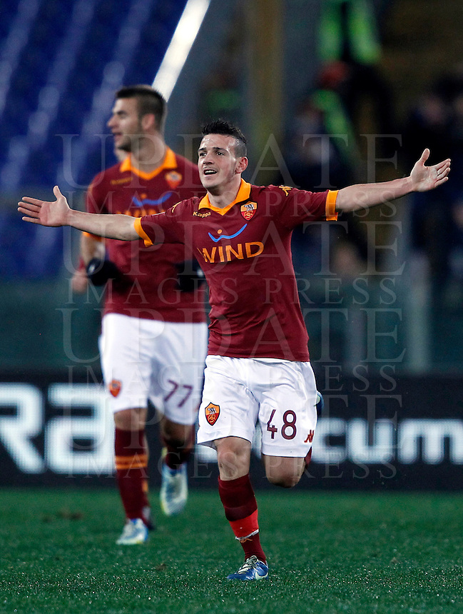 Calcio, semifinale di andata di Coppa Italia: Roma vs Inter. Roma, stadio Olimpico, 23 gennaio 2013..AS Roma midfielder Alessandro Florenzi celebrates after scoring during the Italy Cup football semifinal first half match between AS Roma and FC Inter at Rome's Olympic stadium, 23 January 2013..UPDATE IMAGES PRESS/Isabella Bonotto