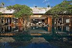 Reflecting swimming pool in front of a modern luxury villa in Canggu, Bali