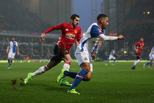 February 19th 2017, Blackburn, Lancashire, England; FA Cup 5th Round football, Blackburn Rovers versus Manchester United; Henrikh Mkhitaryan of Manchester United and Liam Feeney of Blackburn Rovers  compete for the ball