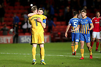 Shrewsbury Town goalkeeper, Dean Henderson and James Bolton celebrate their victory at the final whistle as Joe Riley (No 2) urges them to curb their enthusiasm during Charlton Athletic vs Shrewsbury Town, Sky Bet EFL League 1 Play-Off Football at The Valley on 10th May 2018