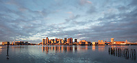 sunrise skyline from East Boston, Boston, MA panorama (L+R)