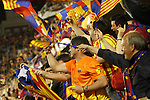 F.C. Barcelona´s supporters celebrate a goal during the Spanish Copa del Rey `King´s Cup´ final soccer match between Real Madrid and F.C. Barcelona at Mestalla stadium, in Valencia, Spain. April 16, 2014. (ALTERPHOTOS/Victor Blanco)