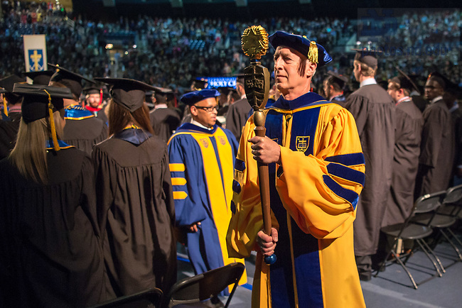 May 20, 2017; 2017 Mace Bearer Joshua Kaplan leads the academic procession at Commencement Mass 2017. (Photo by Matt Cashore/University of Notre Dame)
