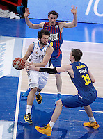 Real Madrid's Sergio Llull (l) and FC Barcelona Regal's Marcelinho Huertas (c) and CJ Wallace during Spanish Basketball King's Cup match.February 07,2013. (ALTERPHOTOS/Acero) /Nortephoto