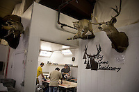 Workers use knives and saws to butcher deer, elk, and antelope carcasses for meat at House of Meats in Great Falls, Montana, USA.